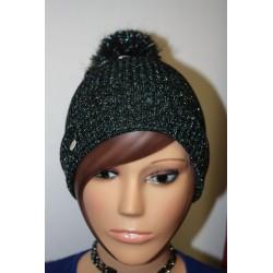Bonnet en lamé coloris noir multic