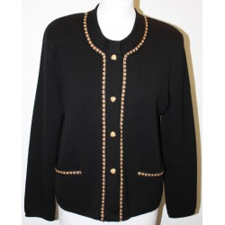 veste en laine noire et beige 4