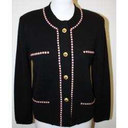veste en laine noire et rose