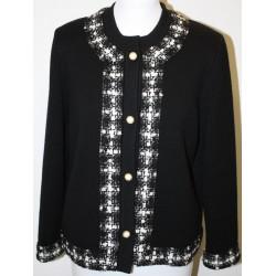 veste en laine noire et tissus