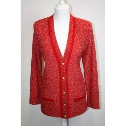 veste en boutonne de laine rouge et blanche