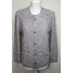 veste en boutonné de laine rose et bleue