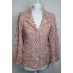 veste en boutonne de laine chinée rose