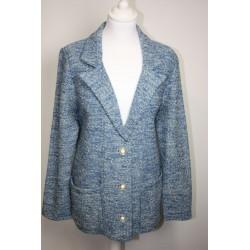 veste en boutonne de laine chinée bleue