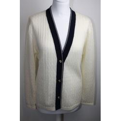 Veste en coton et viscose coloris blanc