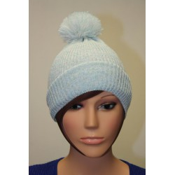 Bonnet en lamé coloris bleu ciel