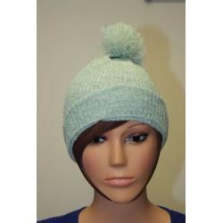 Bonnet en lamé coloris blanc et vert