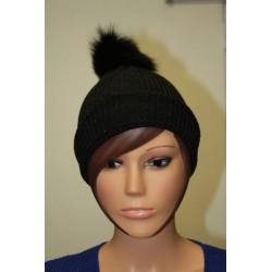Bonnet en lamé coloris noir