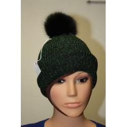 Bonnet en lamé coloris noir et vert