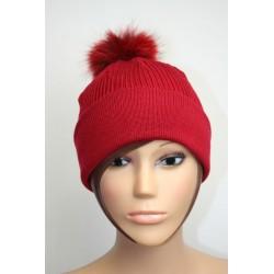 Bonnet en laine avec pompon en fourrure