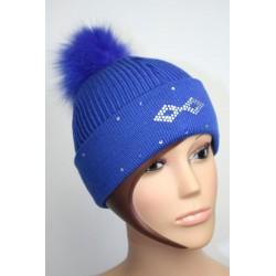 Bonnet en laine avec pompon en fourrure et strass - Losange 2