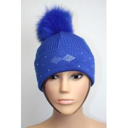Bonnet en laine avec pompon en fourrure et strass - Losange 3