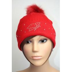 Bonnet en laine avec pompon en fourrure et strass - Papillon 1