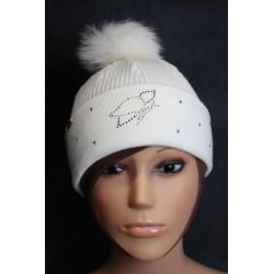 Bonnet en laine avec pompon en fourrure et strass - Papillon 3