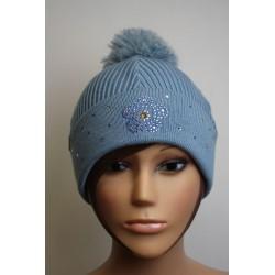 Bonnet en laine et strass - Fleur 1