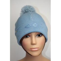 Bonnet en laine et strass - Losange bicolore