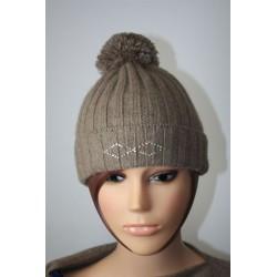 Bonnet en laine et kashmire avec strass